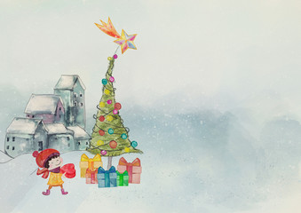 Watercolor christmas bacground with child.