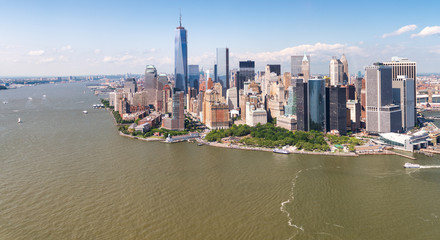 Wall Mural - Helicopter view of Lower Manhattan, New York City