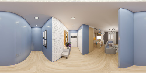 3d illustration spherical 360 degrees, seamless panorama of the interior design of an apartment in Scandinavian style. Architectural visualization of the interior panorama in warm colors.