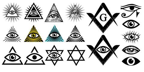 All seeing eye. Illuminati symbols, masonic sign. Conspiracy of elites.The Jewish Star Sign of David. New world order. Vector illustration set