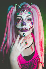 scary halloween woman with sugar skull makeup