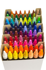 rows of multicolored wax crayons