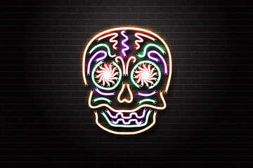 Vector realistic isolated neon sign for Dia de Muertos skull for decoration and covering on the wall background. Concept of Happy Day of the Dead in Mexico.