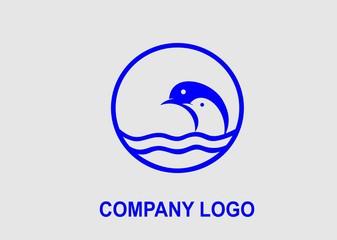 sea animal inside the circle, logo vector design