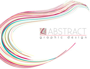 Smooth shape. Abstract template with particolored thin stripes. Vector graphics