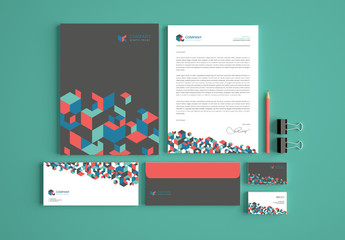 Business Stationery Layout with Geometric Elements