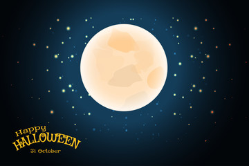 Vector wide poster for Halloween holiday with full moon, stars on the gradient dark blue background with stars.
