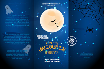 Vector Halloween invitation booklet to night party with three sections on the dark blue gradient background.