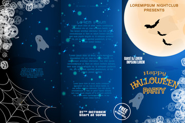 Vector Halloween invitation booklet to night party with three sections on the dark blue gradient background with full moon, ghosts and flock of bats.