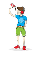 boy drinks soda and listens to music, can with drink and player, vector image, color character,outline style