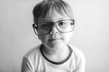 Cute Kid Wearing Daddy's Glasses Portrait