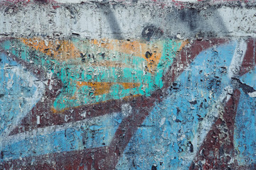 Peeling painted from painted walls in the city