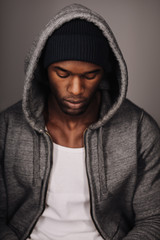 Calm African male model in hoodie
