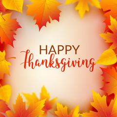 Thanksgiving card celebration banner. Thanksgiving season holiday backgorund flyer with leaf