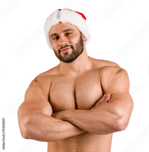 Sexy men in santa hats