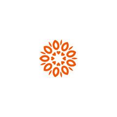 Flower vector linear logo. Orange line art sun icon. Outline garden abstract symbol.