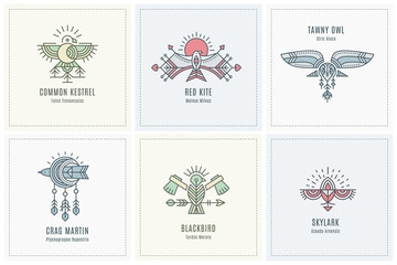 Set of Flying Bird Logo design, geometric tribal archaic emblems