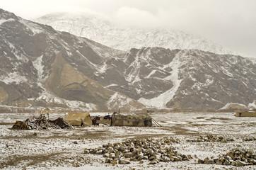 A hamlet Near Pakistan-Afghnistan Border Amidst Snowy Hills