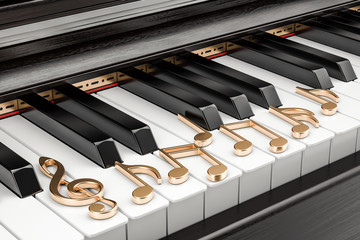 Piano keyboard with music notes, music concept. 3D rendering