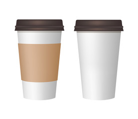 Realistic paper coffee cup. Plastic and carton brown coffee or tea cup mock Up. Vector template