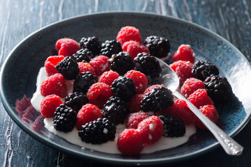 Berries with Cream and Maple Syup