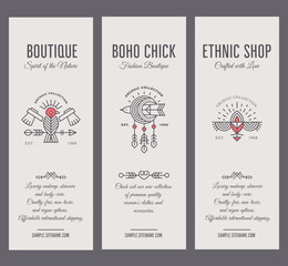 Set of vintage card templates in unique bohemian style with archaic elements.