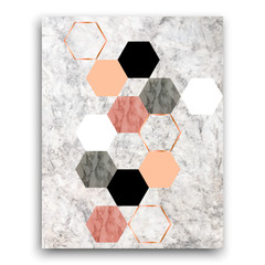 Marble background with hexagons. Geometric print for your card, template, business, brochure. Trendy poster for textile, fabric, web, wallpaper, poster, home design, office design