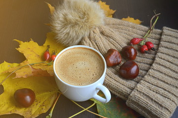 Cup of Coffee Beverage Maple Yellow Leaves Chestnuts Golden Autumn Cheerful Sunlight  Morning Concept Toned