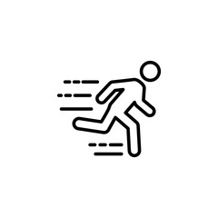 thin line fast running man icon on white