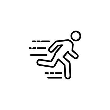 thin line fast running man icon on white