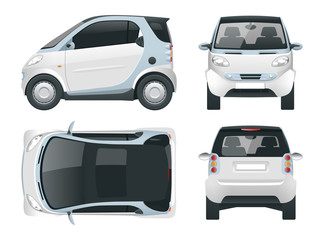 Vector compact smart car. Small Compact Hybrid Vehicle. Eco-friendly hi-tech auto. Easy color change. Template vector isolated on white View front, rear, side, top
