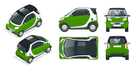 Vector compact smart car. Small Compact Hybrid Vehicle. Eco-friendly hi-tech auto. Easy color change. Template vector isolated on white View front, rear, side, top and isometric
