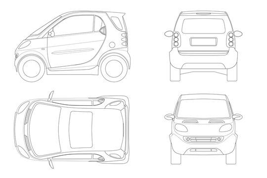 Vector compact smart car in outline. Small Compact Hybrid Vehicle. Eco-friendly hi-tech auto. Easy color change. Template vector isolated on white View front, rear, side, top