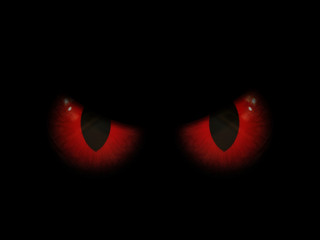Fototapete - 3D Halloween background with red evil eyes