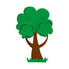 Illustration cartoon of a cute tree holding his cheek
