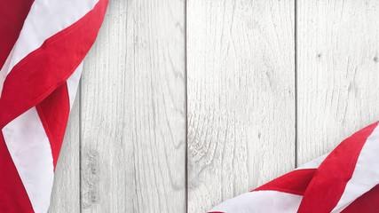 American Flag Over Whitewashed Wood Background For United States Holidays