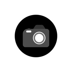 Photo camera round icon long shadow vector
