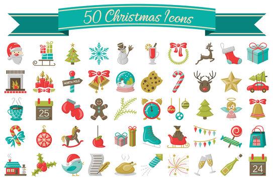 Weihnachten Icons Symbole Vektor Set