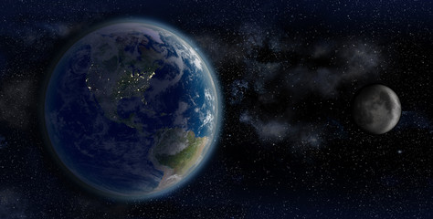 3D Rendering of the Earth and the Moon from space on a star field backdrop, with a night-shaded North America, for science and space business backgrounds.