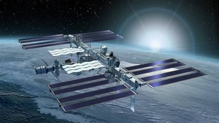 3D Rendering of the International Space Station flying above Earth, from its zenith solar panels and the detailed modular architecture
