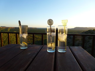 Gin Tonic glasses with lemon in front of a dreamy landscape in Namibia, Africa during sunset 2