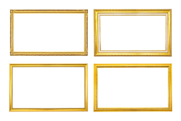 Set antique golden frame isolated on white background.Gold frame isolated.Golden frame isolated.Group rectangle golden frame isolated