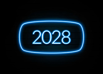 2028 - colorful Neon Sign on brickwall