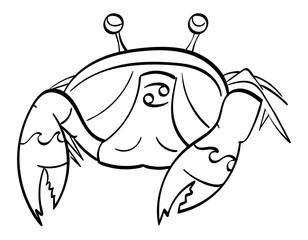 Cancer - a crab with the symbol for cancer under its shell. Outline