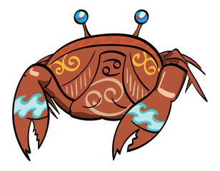Cancer - a crab with the symbol for cancer under its shell.