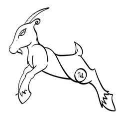 Capricorn - a leaping goat with the symbol of Capricorn on its hind quarters.  Outline.