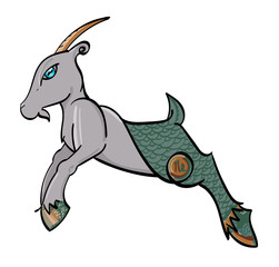 Capricorn - a leaping goat with the symbol of Capricorn on its hind quarters.