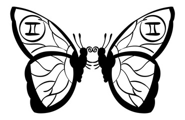 Gemini - two identical butterflies with the symbol for Gemini on their wings. Outline.