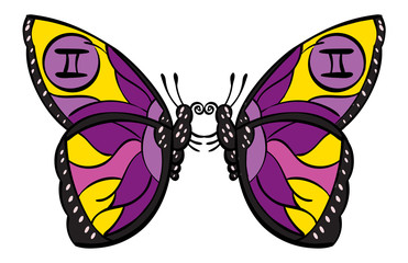 Gemini - two identical butterflies with the symbol for Gemini on their wings.