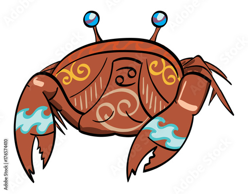 Cancer A Crab With The Symbol For Cancer Under Its Shell Stock